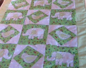 Handmade applique cot quilt/playmat