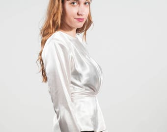 Deadstock satin peplum top, 80s ivory top, White peplum top,