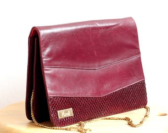 AUREL Maroon Red Vintage Leather Bag, Red Vintage Leather Shoulder Bag, Elegant Vintage Evening Bag