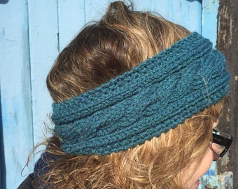 Teal Hand Knitted Headband,Ear Warmer,Cable Pattern,Handmade,Hand Knitted,Knitted Headband,Great Gift