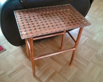 Copper Side Table Copper Pipe Table Bespoke Upcycled Copper Penny Table