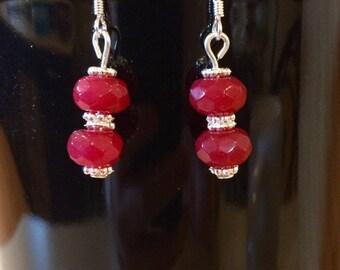 Brazilian ruby dangle earrings