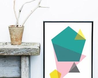 Abstract art print, abstract print, modern art abstract,  Scandinavian art, minimalist print, pink, turquoise, pink, grey, geometric art
