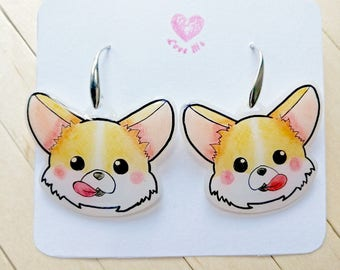 Corgi kawaii animal earrings, dog gift idea, kawaii pendants earrings, animal lover, hand drawn jewelry, kid earrings, cute funny gift idea