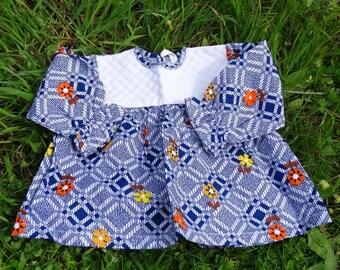 Newborn Baby girl dress vintage girl infant dress floral baby dress cotton blue dress long sleeved french vintage 1960s size 3 months