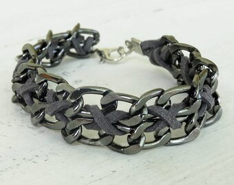 Chunky bracelet men mens hipster bracelet mens jewelry jewellery bracelet metal chain gray bracelet braided leather bracelet handmade