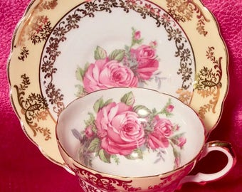 Pretty in Pink-Derby Pedestal Teacup and Saucer