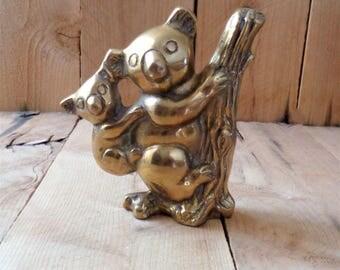 Vintage Brass Koala Statue Brass Figurine