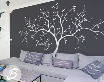 Family Tree Wall Decals Large White Tree Decal Nursery Tree Wall Decals, Tree  Mural,