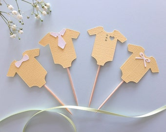 Set of 12 neutral  onesie cupcake toppers- baby reveal toppers  - Baby shower toppers- yellow onesie toppers