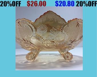 Light Orange Scalloped Edge Carnival Glass Fruit Bowl