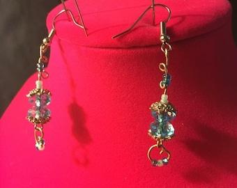 Blue dangle glass beaded earrings