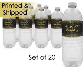 50th Birthday Gold Glitter Theme Water Bottle Labels, 50th Birthday Supplies, 50 Party Decorations, Milestone Birthday 50th Idea (Set of 20)