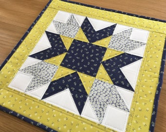 Yellow table topper, quilted table topper, yellow table runner, blue table topper, quilted table mat, table centrepiece, wall hanging