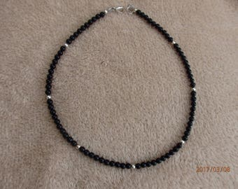 Black onyx and silver necklace