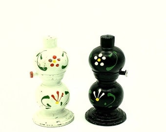 Rustic Salt and Pepper Shakers | Hand Painted Cast Iron