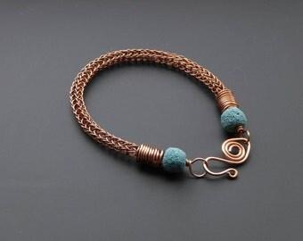 Copper bracelet, wire jewelry, copper jewelry, lava bead jewellery, viking knit, knit jewelry, viking knit bracelet, gift for her,
