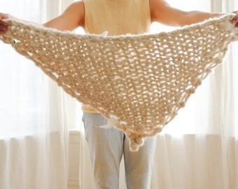 Larry Large Knit Triangle Wrap / Shawl / Scarf