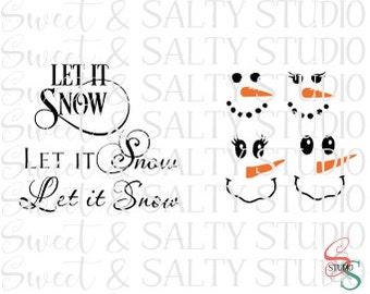 snowman face let it snow template digital file