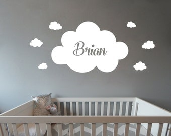 Personalized Name With Clouds and Initial Nursery Baby room wall decal girl available in 10 different sizes and 30 different colors 020