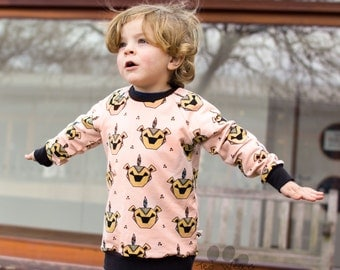 Organic Jumper: Organic Sweater, Organic Sweatshirt, Baby Sweater, Organic Baby Clothes, Toddler Jumper, Lion Jumper, Pink Sweater