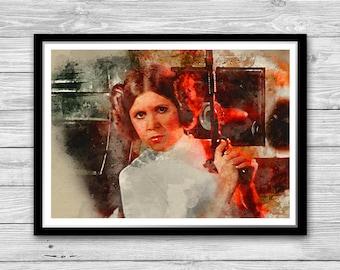 Princess Leia Poster, Star Wars Watercolor Art poster print, Princess Leia Art Print, Carrie Fisher print, Satr Wars, Wall Art, Home Decor