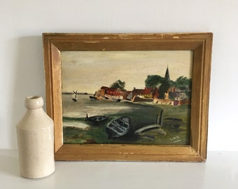 Vintage oil painting on board of Norfolk boats, wooden gold painted frame.