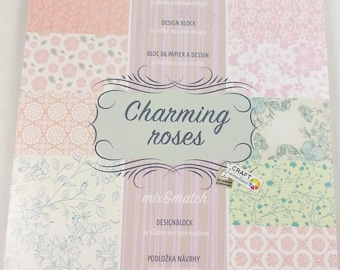 small Blossomy with 30 sheets, 10 themes each 3 x, scrapbooking paper scrapbook paper pad block (charming roses)