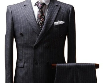 Double Breasted Suit in Grey Pinstripe