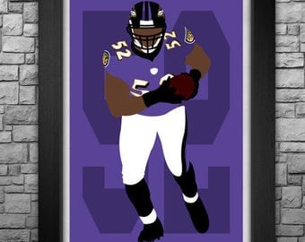 RAY LEWIS minimalism style limited edition art print. Choose from 3 sizes!