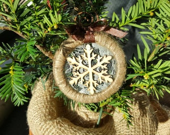 Rustic lace twine snowflake ornament