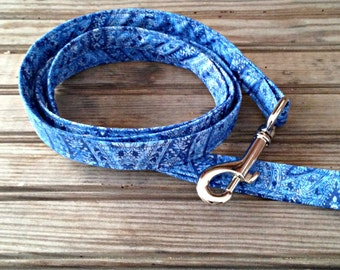 Dog Leash, Blue Paisley Print Dog Leash, Blue Dog Leash, Fabric Dog Leash, Green Floral Dog Leash