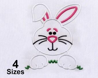 Fuzzy White Rabbit Easter Embroidery Design