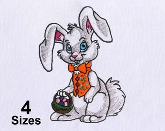 Colorful Gray Rabbit Easter Embroidery Design