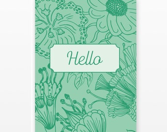 Floral Hello Card Set | 5 Blank Cards