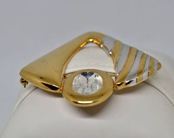 Valentino vintage haute couture brooch in gilded and silver metal