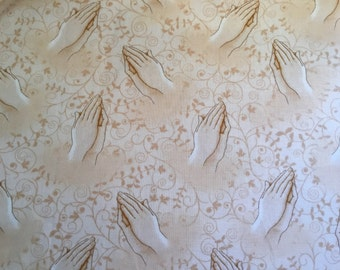 100% cotton fabric Helping Hands Peach 112cm wide.