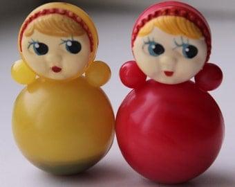 Set of 2 Soviet roly-poly toys . Nevalyashka. Vintage Celluloid. Tilting doll USSR. tilting doll. Soviet toy