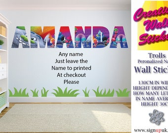 Trolls wall art sticker ANY NAME Wall Sticker Children's Bedroom xx Large.