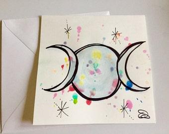 Hand drawn watercolour card // moon goddess card // wiccan card // pagan card // druid card // full moon card // valentines card
