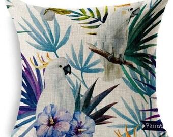 Housse de coussin Perroquets Jungle  Coton et lin beige   Décoration d'intérieur   Salon & Chambre  Design Scandinave   Décoration intérieur