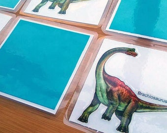 Dinosaur Matching Game - Laminated Matching Cards - Memory Game - Dinosaur Preschool Game