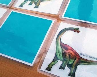 Dinosaur Matching Game - Laminated Matching Cards - Memory Game - Dinosaur Preschool Game