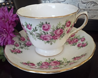 Mother's Day Gift for Her, Royal Vale Teacup and Saucer with Pink Roses - Footed Teacup with Gold Trim - Gift for Mom
