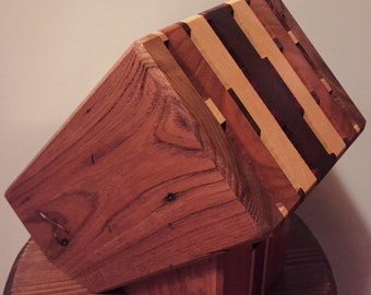Hardwood Knife Block. Wormy Chestnut, Maple, Walnut, Padauk, Purpleheart, and Cherry. Holds 14 knives + Scissors