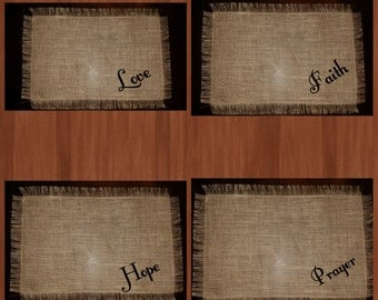 Love, Prayer, Hope, and Faith placemats