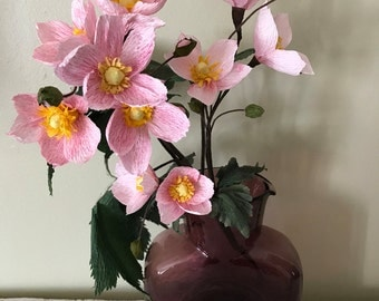 "Stem of 3 Japanese Anemones, or ""Windflowers, "" with leaves and buds"