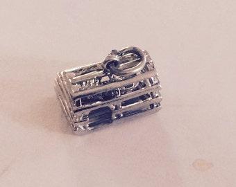 Lobster trap sterling silver charm vintage # 105