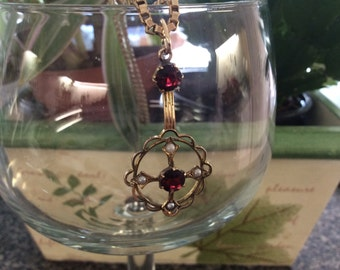Victorian  9k lavaliere with seed pearls and garnets # 166