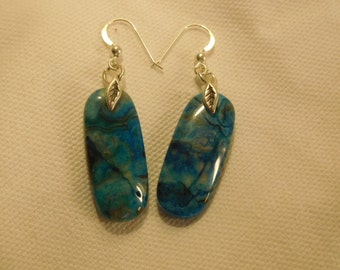Blue crazy lace agate and sterling silver drop earrings.